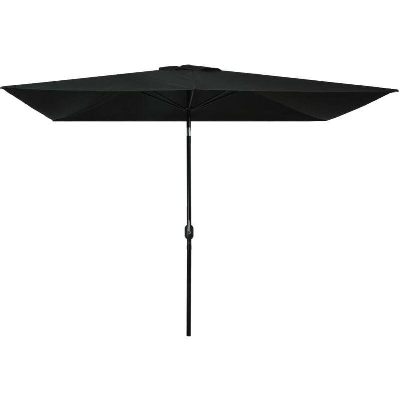 Parasol avec mât en métal 300 x 200 cm Noir