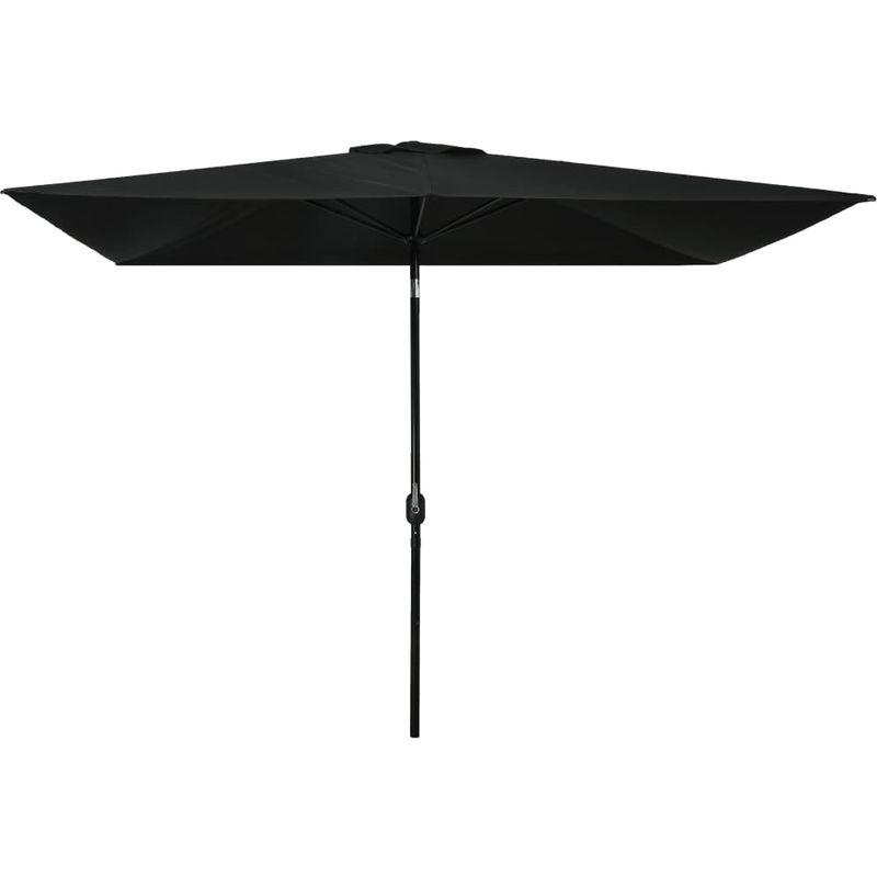 Parasol avec mat en metal 300 x 200 cm Noir