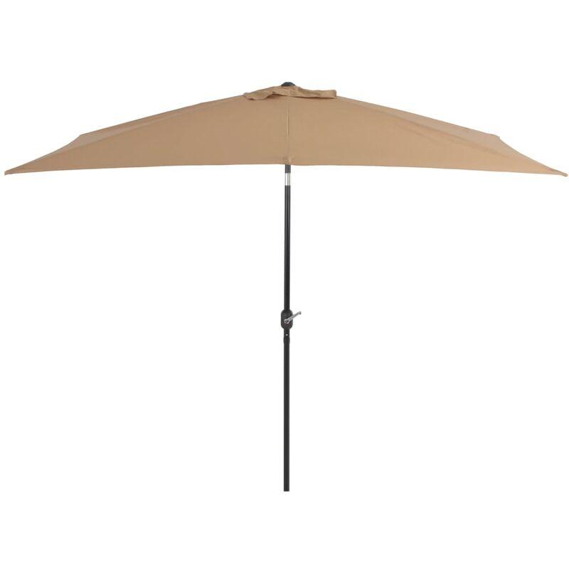 Parasol avec mât en métal 300 x 200 cm Taupe