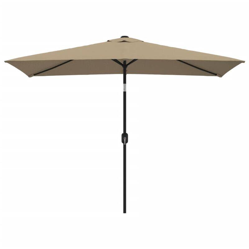 Parasol avec mat en metal 300 x 200 cm Taupe - Vidaxl