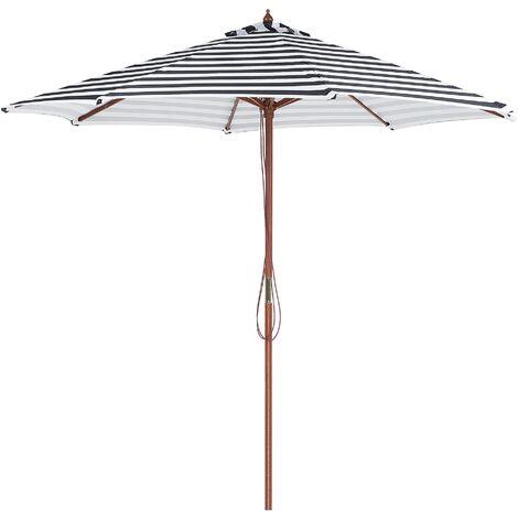 Parasol avec pied central en bois et toile rayée blanche et noire