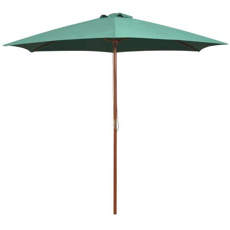Parasol avec poteau en bois 270 x 270 cm Vert
