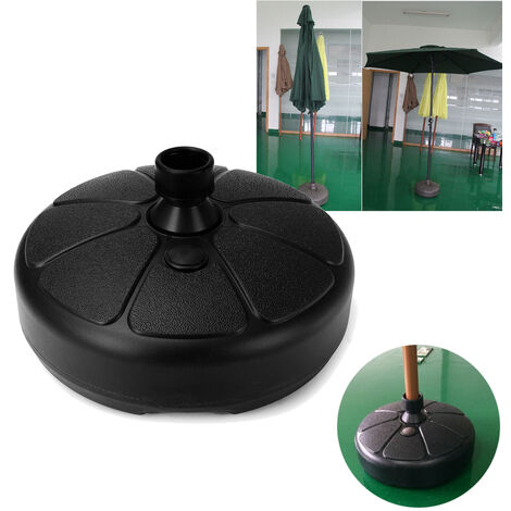 Parasol Base Patio Umbrella Stand Outdoor Garden Furniture Umbrella Stand Fill Water / Sand Color: Black Size: 38x15cm