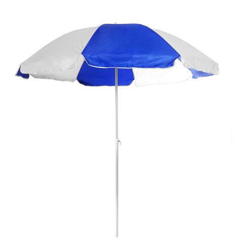 Parasol Beach Sun Shade Umbrella+Rod blue+white 2M
