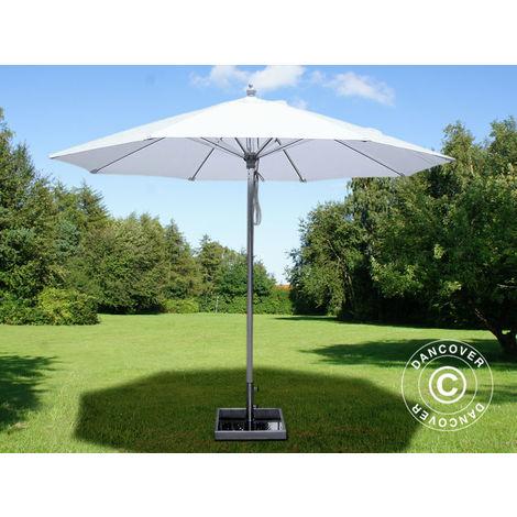 Parasol Bermuda, 2,5m, Blanc, avec Pied de parasol