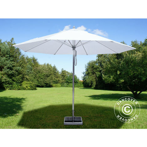 Parasol Bermuda, 3m, Blanc, avec Pied de parasol