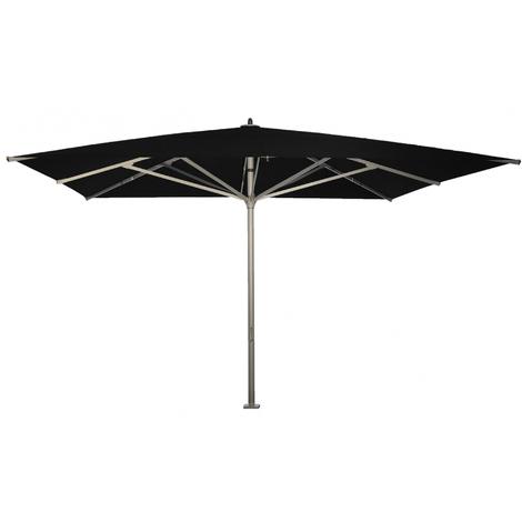 Parasol carré centré Noir anti-UV avec socle à dalles 400x400cm