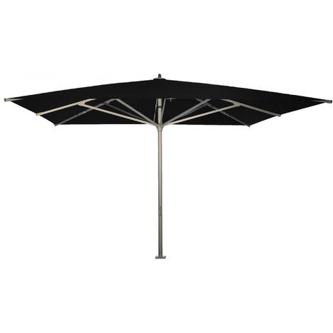 Parasol carré centré Noir anti-UV avec socle à dalles 500x500cm