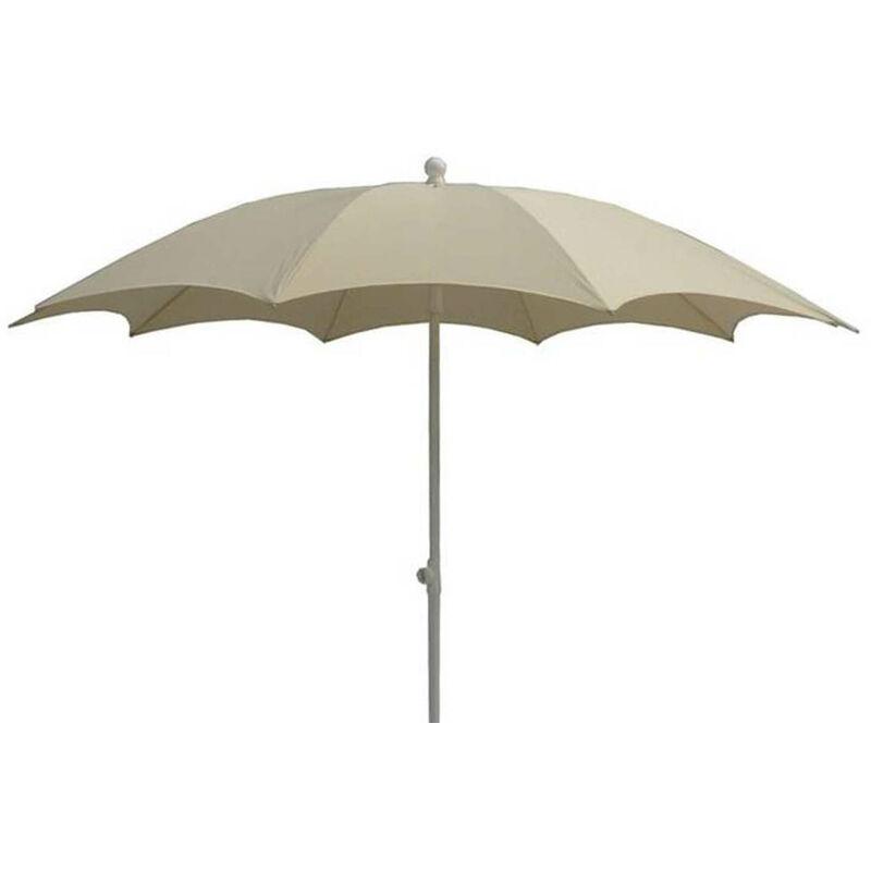 Pegane - Parasol centré en polyester coloris écru - Dim : 140/10 – D 280 cm