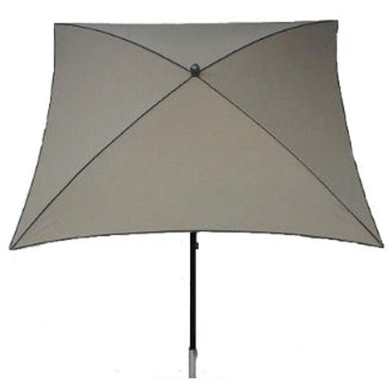 Parasol centré, tissu dralon coloris taupe - Dim : 210X130/4 cm