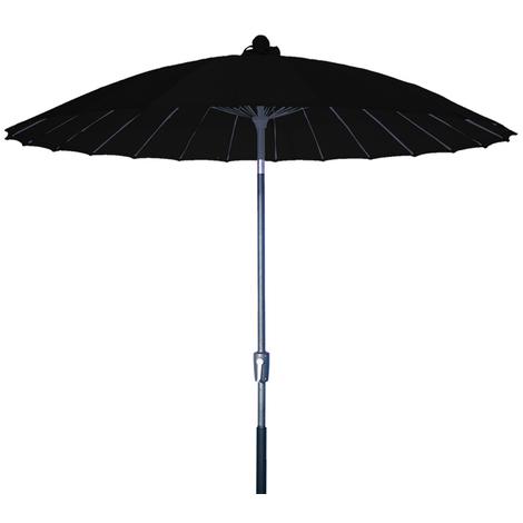 Parasol centré Vaticano Noir anti-UV inclinable rond 250cm