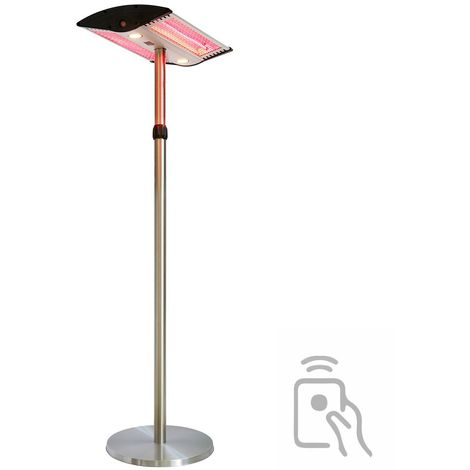 Parasol chauffant électrique 1000 - 2000w avec pied réglable jusqu'à 2.20m lampe halogène pour jardin terrasse intérieur véranda atelier