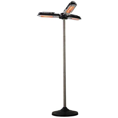 Parasol chauffant electrique 2000w avec pied 180cm Trois lampes Halogene pour jardin terrasse intérieur véranda atelier - 2000w