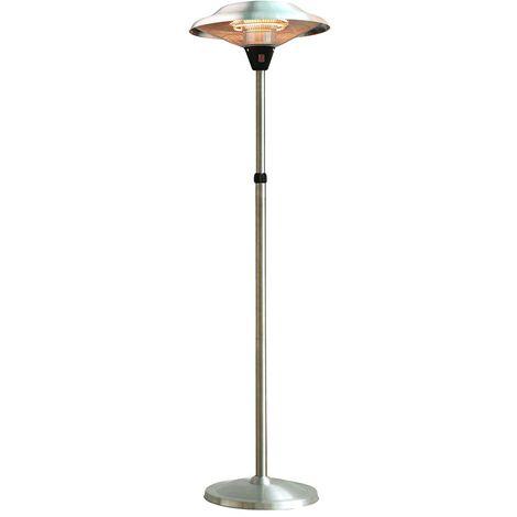Parasol chauffant électrique 2100w avec pied réglable jusqu'à 2.10m lampe halogène pour jardin terrasse intérieur vérenda atelier