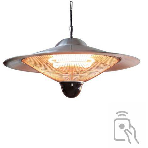 Parasol chauffant électrique 2100w avec pied réglable jusqu'à 2.10m lampe halogène pour jardin terrasse intérieur vérenda atelier - GRIS