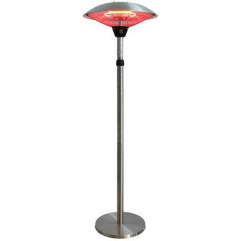 Parasol chauffant électrique 2100w avec tête inclinable lampe halogène pour jardin terrasse intérieur véranda atelier