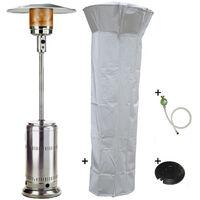 Parasol chauffant gaz 14kW Inox Radiateur de terrasse (inclus housse, lest et connectique) Allumage électronique