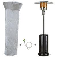 Parasol chauffant gaz 14kW Noir Radiateur de terrasse (inclus housse lest et connectique)