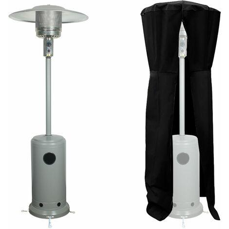 Parasol chauffant OSLO - chauffage d'extérieur gaz - acier gris clair + housse