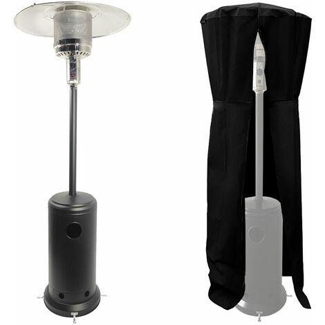 Parasol chauffant OSLO - chauffage d'extérieur gaz - acier noir + housse