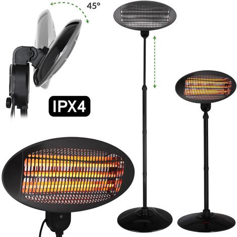 Parasol chauffant projecteur max. 2000W chauffage intérieur extérieur balcon terrasse 3 niveaux IPX4 pied de base en métal
