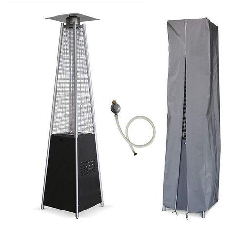 Parasol chauffant PYRAMIDE 14 KW INTEC Allumage piezo électronique Connectique gaz + Housse de protection Chauffage et éclairage