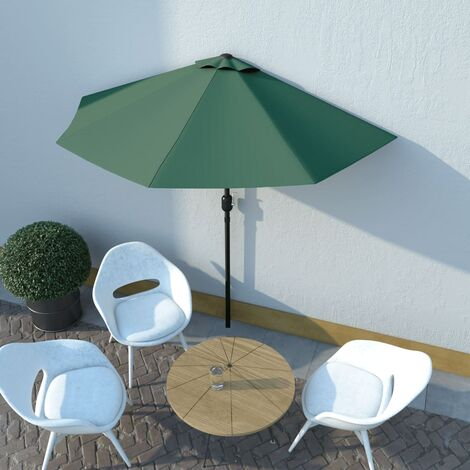 Parasol de balcon avec mât en aluminium Vert 270x135 cm Demi