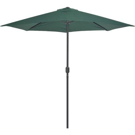 Parasol de balcon avec mat en aluminium Vert 270x135 cm Demi