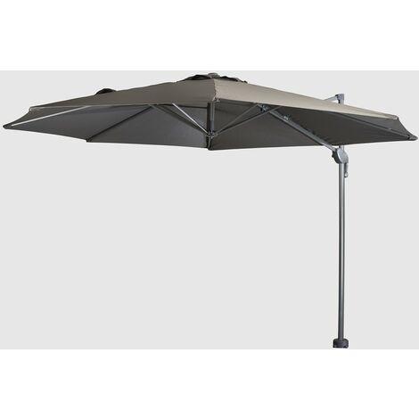 Parasol de exterior descentrado con mástil lateral | Redondo 350 cm | Tela con gramaje 200 gr gris | Inclinable y giratorio 360 grados con manivela | No incluye base de parasol | Portes gratis