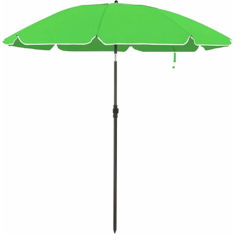 Parasol de jardin Ø 1,6 m, Ombrelle, protection UPF 50+, inclinable, portable, résistant au vent, baleines en fibre de verre, avec sac, Vert GPU60GN - Vert