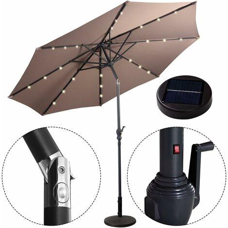 Parasol de Jardin 24 LED Lampes Solaire 3M Inclinable Brun avec ...