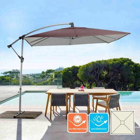 Parasol de jardin 2.5x2.5 mètres tissu carré en aluminium à bras décentralisé Shadow Brown