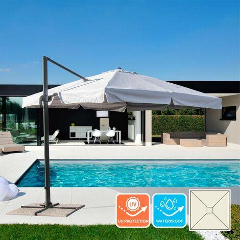 Parasol de jardin 3x3 bras en aluminium carré Paradise