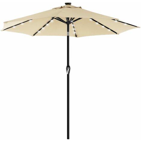 Parasol de jardin avec ampoules LED à énergie solaire, Ombrelle de terrasse, diamètre 2,7 m, protection salaire UPF50+, inclinaison réglable, avec manivelle, sans socle, Beige GPU040M01 - Beige