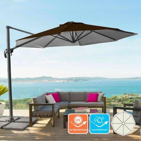 Parasol de jardin en aluminium à mât déporté pour la maison et le local 3x3m Paradise Brown