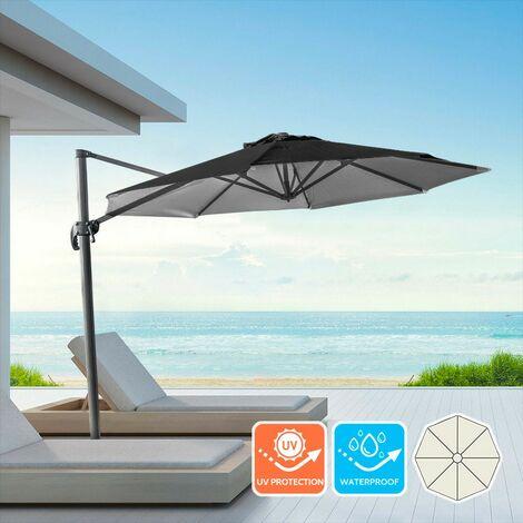 Parasol de jardin en aluminium à mât excentré pour la maison et le local 3x3m Paradise Noir