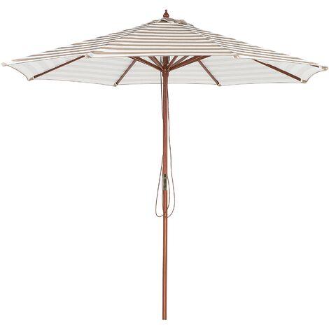 Parasol de jardin en bois et toile à rayures beiges et blanches FERENTILLO