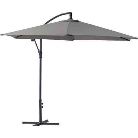 Parasol de jardín exéntrico en aluminio ILIOS - Circular - Ø 3 m - Gris