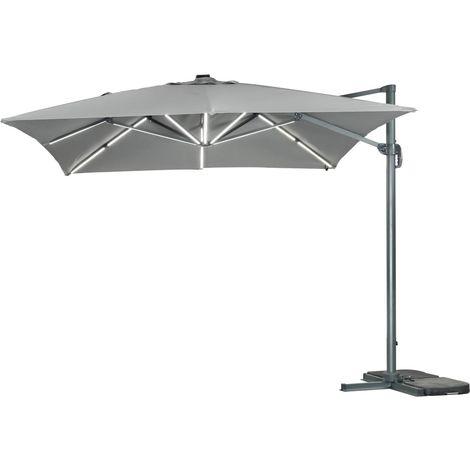 Parasol de jardin LED Alu Sun 3 Luxe - Cuadrado - 3 x 3 m - Gris