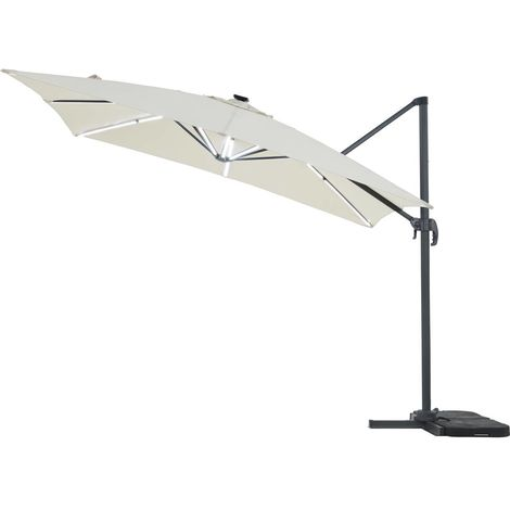 Parasol de jardin LED Alu Sun 4 Luxe - Rectangular - 3 x 4 m - Crudo