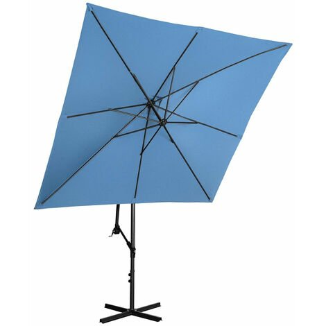 Parasol de jardin meuble abri terrasse carré 250 x 250 cm inclinable bleu - Bleu