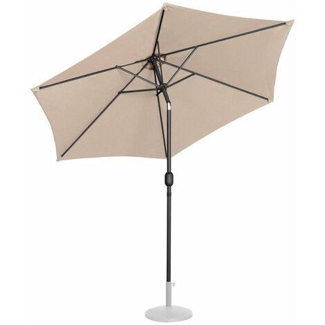 Parasol de jardin meuble abri terrasse diamètre 270 cm inclinable crème - Crème