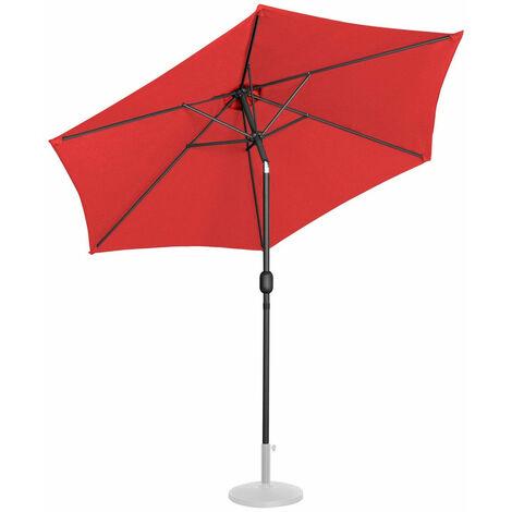 Parasol de jardin meuble abri terrasse diamètre 270 cm inclinable rouge - Rouge