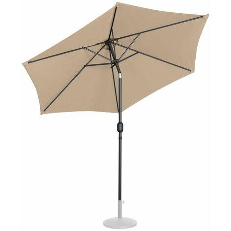 Parasol de jardin meuble abri terrasse diamètre 270 cm inclinable taupe - Taupe