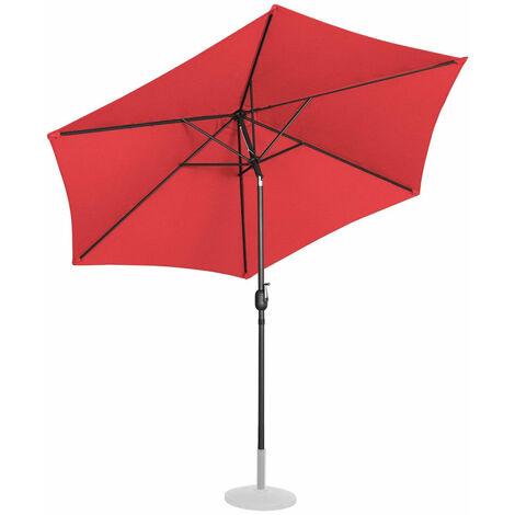 Parasol de jardin meuble abri terrasse diamètre 300 cm inclinable rouge - Rouge