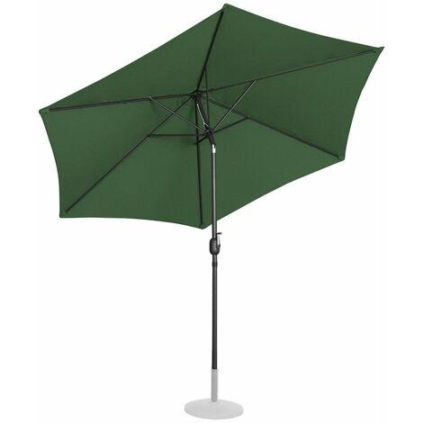Parasol de jardin meuble abri terrasse diamètre 300 cm inclinable vert - Vert