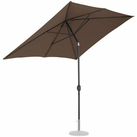 Parasol de jardin meuble abri terrasse rectangulaire 200 x 300 cm inclinable marron - Marron