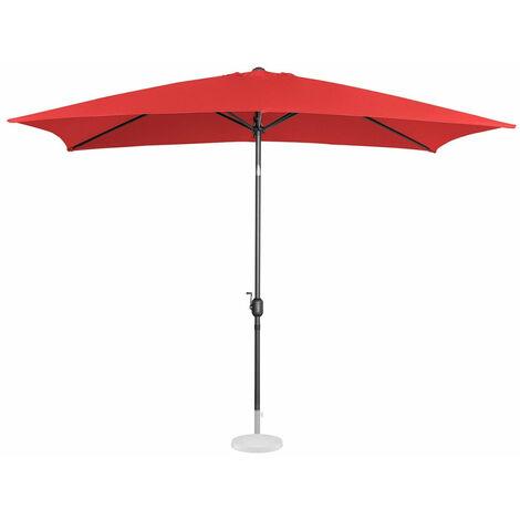 Parasol de jardin meuble abri terrasse rectangulaire 200 x 300 cm inclinable rouge - Rouge
