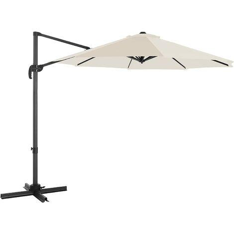 Parasol de jardín, Parasol excéntrico 3 m, con rotación de 360°, Protección UPF50+, Inclinación ajustable, con manivela, con base, Beige GPU35BR - Topo