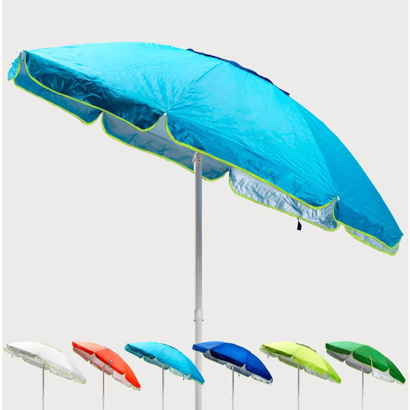 Parasol de plage 200 cm anti-vent protection uv Sardegna | Turquoise